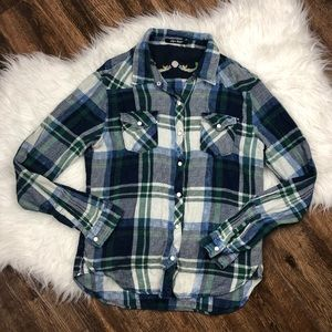 5f6ba555 Chip Foster Tops - Chip Foster blue and green plaid cowboy shirt